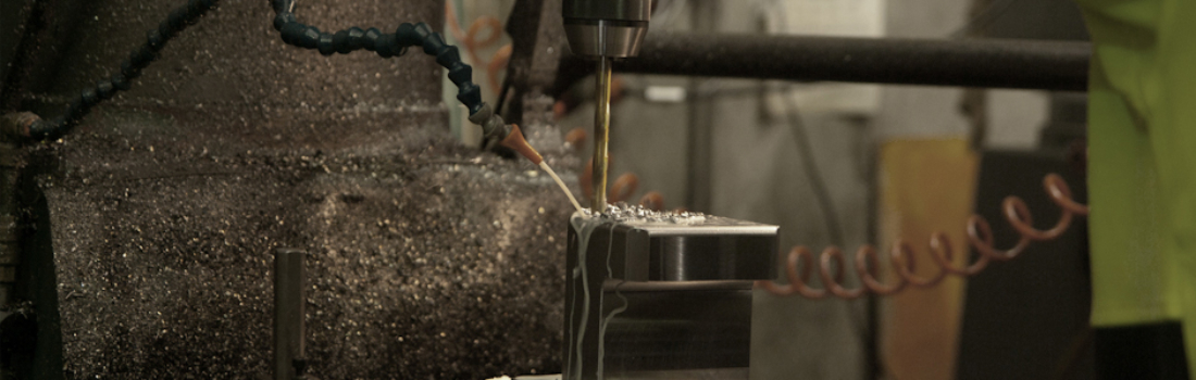 Drilling a steel fabrication in one of GSI's milling machines. Industrial Engineering.