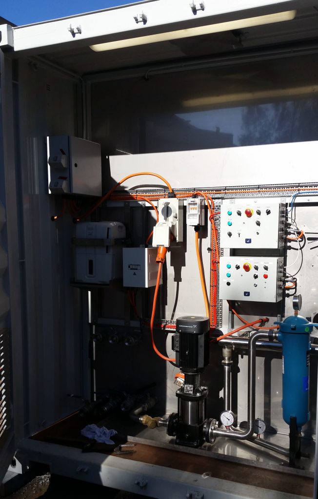 Control panel on the portable HVAC testing unit.