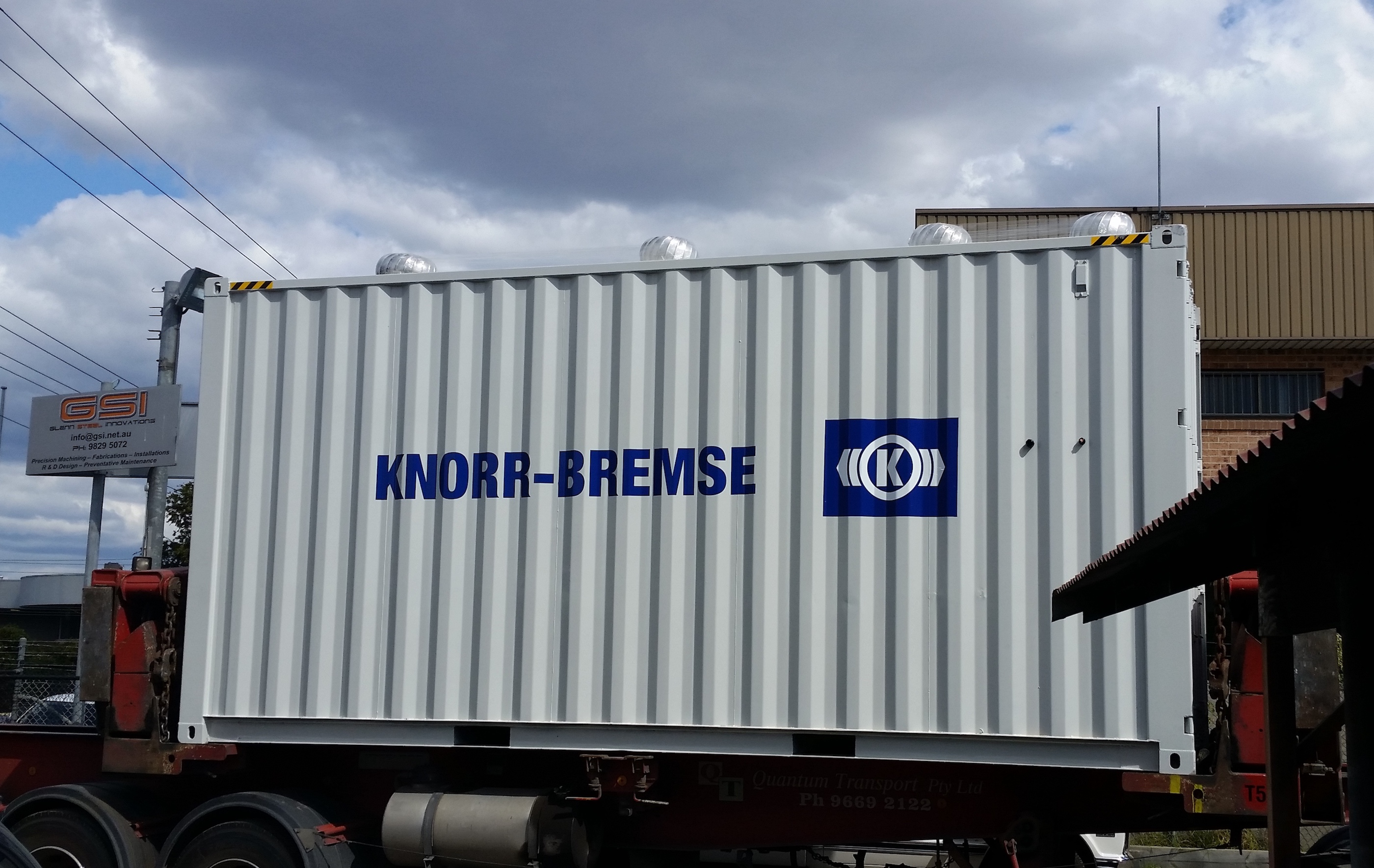 The portable HVAC testing unit has been built inside a 20 ft shipping container.